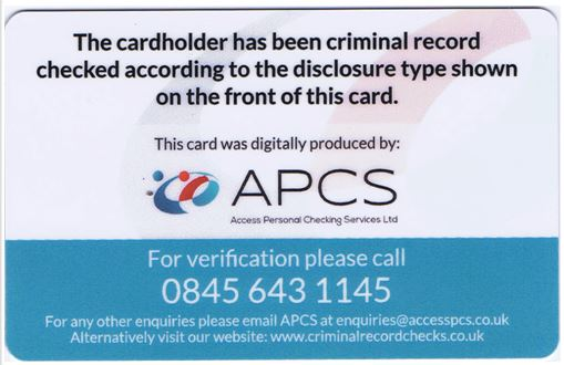 Back of a APCS ID card
